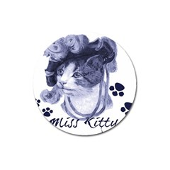 Miss Kitty Blues Magnet 3  (round)