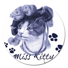 Miss Kitty blues Magnet 5  (Round)