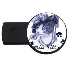 Miss Kitty Blues 2gb Usb Flash Drive (round)