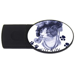 Miss Kitty blues 1GB USB Flash Drive (Oval)