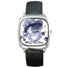 Miss Kitty Blues Square Leather Watch