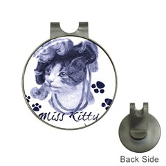 Miss Kitty blues Hat Clip with Golf Ball Marker