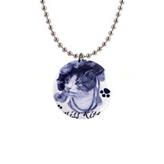 Miss Kitty blues Button Necklace