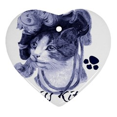 Miss Kitty blues Heart Ornament (Two Sides)