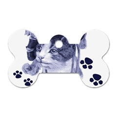 Miss Kitty blues Dog Tag Bone (One Sided)