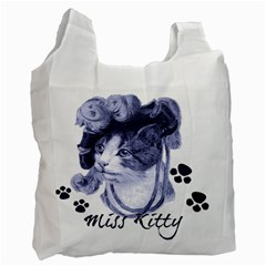 Miss Kitty blues White Reusable Bag (Two Sides)
