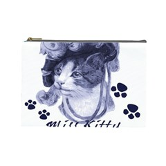 Miss Kitty blues Cosmetic Bag (Large)