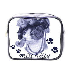 Miss Kitty Blues Mini Travel Toiletry Bag (one Side)