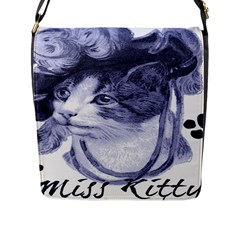 Miss Kitty blues Flap Closure Messenger Bag (Large)