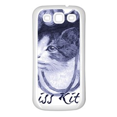 Miss Kitty blues Samsung Galaxy S3 Back Case (White)