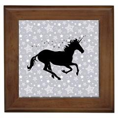 Unicorn on Starry Background Framed Ceramic Tile