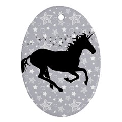 Unicorn on Starry Background Oval Ornament