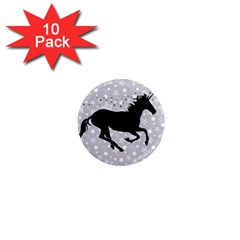 Unicorn on Starry Background 1  Mini Button Magnet (10 pack)