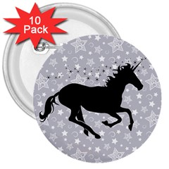 Unicorn on Starry Background 3  Button (10 pack)