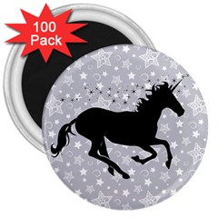 Unicorn on Starry Background 3  Button Magnet (100 pack)