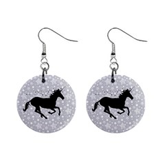 Unicorn On Starry Background Mini Button Earrings