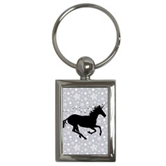 Unicorn on Starry Background Key Chain (Rectangle)