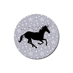 Unicorn on Starry Background Drink Coasters 4 Pack (Round)