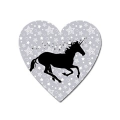 Unicorn On Starry Background Magnet (heart)