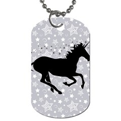 Unicorn on Starry Background Dog Tag (Two-sided)