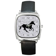 Unicorn on Starry Background Square Leather Watch
