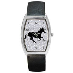 Unicorn on Starry Background Tonneau Leather Watch