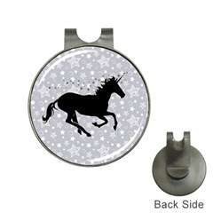 Unicorn on Starry Background Hat Clip with Golf Ball Marker