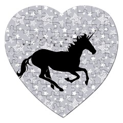 Unicorn on Starry Background Jigsaw Puzzle (Heart)