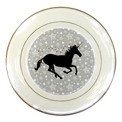 Unicorn On Starry Background Porcelain Display Plate