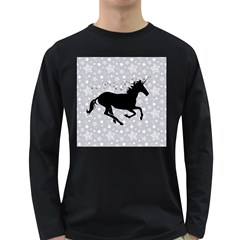 Unicorn On Starry Background Men s Long Sleeve T Shirt (dark Colored)