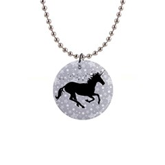 Unicorn on Starry Background Button Necklace