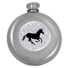 Unicorn On Starry Background Hip Flask (round)