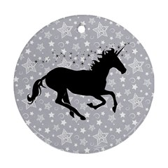 Unicorn on Starry Background Round Ornament (Two Sides)