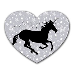 Unicorn On Starry Background Mouse Pad (heart)