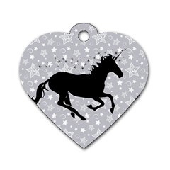 Unicorn on Starry Background Dog Tag Heart (Two Sided)