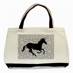 Unicorn on Starry Background Twin-sided Black Tote Bag