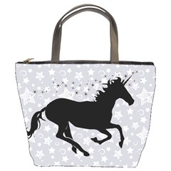 Unicorn on Starry Background Bucket Handbag
