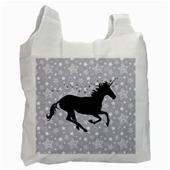 Unicorn on Starry Background White Reusable Bag (Two Sides)
