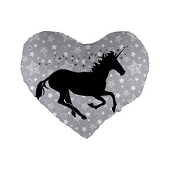 Unicorn on Starry Background 16  Premium Heart Shape Cushion