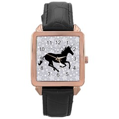 Unicorn on Starry Background Rose Gold Leather Watch