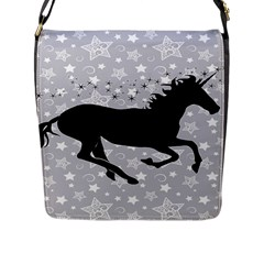 Unicorn On Starry Background Flap Closure Messenger Bag (large)