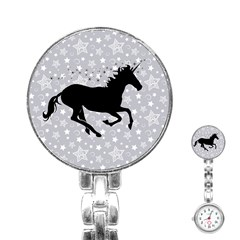 Unicorn On Starry Background Stainless Steel Nurses Watch
