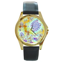 Golden Violet Sea Shells, Abstract Ocean Round Leather Watch (Gold Rim)