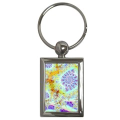 Golden Violet Sea Shells, Abstract Ocean Key Chain (rectangle)