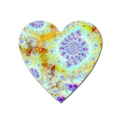Golden Violet Sea Shells, Abstract Ocean Magnet (Heart)