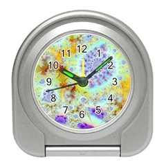 Golden Violet Sea Shells, Abstract Ocean Desk Alarm Clock