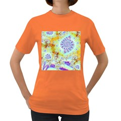 Golden Violet Sea Shells, Abstract Ocean Women s T-shirt (Colored)