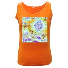 Golden Violet Sea Shells, Abstract Ocean Women s Tank Top (Dark Colored)
