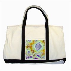 Golden Violet Sea Shells, Abstract Ocean Two Toned Tote Bag
