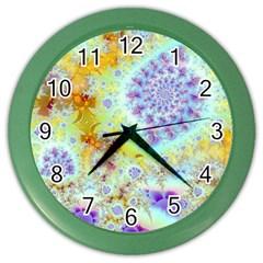 Golden Violet Sea Shells, Abstract Ocean Wall Clock (color)